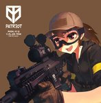 1girl assault_rifle baseball_cap brown_hair commentary gloves goggles gun hat holding holding_gun holding_weapon hood hoodie load_bearing_equipment open_mouth original ponytail rias-coast rifle simple_background solo weapon