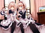 4girls alice_margatroid alternate_costume apron bangs bed black_dress black_legwear black_neckwear black_ribbon blonde_hair blue_dress blue_eyes blush bow braid breasts capelet commentary_request curtains dress enmaided eyebrows_visible_through_hair feet_out_of_frame floating frilled_apron frilled_capelet frills hair_between_eyes hair_bow hair_brush hairband highres holding holding_hair indoors kirisame_marisa kisaragi_yuri light_particles lolita_hairband long_hair long_sleeves looking_at_another looking_at_viewer maid maid_apron maid_headdress medium_breasts multiple_girls neck_ribbon no_hat no_headwear pantyhose petticoat picture_frame puffy_short_sleeves puffy_sleeves red_bow red_footwear red_hairband red_neckwear red_ribbon ribbon shanghai_doll shoes short_hair short_sleeves single_braid sitting small_breasts socks touhou waist_apron wallpaper_(object) white_bow white_capelet white_legwear window yellow_eyes