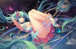1girl absurdly_long_hair ahoge aqua_eyes armpits artist_name atdan blue_eyes blush breasts bug butterfly closed_mouth feet flower green_hair hair_flower hair_ornament hatsune_miku heart heart-shaped_pupils high_heels insect long_hair looking_at_viewer medium_breasts open_toe_shoes panties revision sandals shoes sideboob skirt smile solo symbol-shaped_pupils toes twintails underwear very_long_hair vocaloid