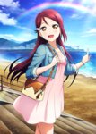 1girl artist_request bag beach blue_sky blush bracelet collarbone day denim denim_jacket dress hair_ornament hairclip jewelry keychain long_hair looking_at_viewer love_live! love_live!_school_idol_festival love_live!_sunshine!! ocean official_art open_mouth outdoors pink_dress pointing rainbow red_hair sakurauchi_riko sky smile solo stairs yellow_eyes