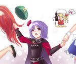4girls >_< alternate_costume ascot belt blonde_hair blood bow braid cape chibi comic dress fang flandre_scarlet hair_pull hair_ribbon hat highres holding_hands hong_meiling izayoi_sakuya koissa long_hair maid multiple_girls no_hat nosebleed open_mouth purple_hair red_eyes red_hair remilia_scarlet ribbon serana serana_(cosplay) short_hair side_ponytail smile tears the_elder_scrolls the_elder_scrolls_v:_skyrim thumbs_up touhou trembling video_camera wings