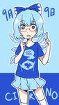 (9) 1girl aqua_hair bespectacled blue_eyes cirno flat_chest glasses highres ice ice_wings lyn_(shunao) red-framed_eyewear semi-rimless_eyewear shirt short_hair skirt solo standing t-shirt thighhighs touhou under-rim_eyewear white_legwear wings
