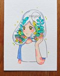 1girl artist_name cropped_torso green_hair hand_up highres hole leaf medium_hair meyoco original photo plant shirt short_sleeves simple_background solo sparkle traditional_media transparent upper_body white_background white_shirt