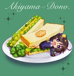 1girl :d akiyama_yukari alternate_costume bangs bc_freedom_(emblem) bc_freedom_school_uniform black_skirt blue_neckwear blue_sweater broccoli brown_eyes brown_hair cardigan chaki_(teasets) character_name chibi cursive diagonal_stripes dress_shirt emblem food food_on_face girls_und_panzer green_background holding in_food lettuce long_sleeves looking_at_viewer lying messy_hair minigirl miniskirt necktie on_side open_mouth plate pleated_skirt red_neckwear sandwich school_uniform shirt short_hair skirt smile solo sparkle striped striped_neckwear sweater white_shirt wing_collar