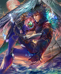 1boy blue_eyes blue_hair chain feathers fingernails gauntlets highres moon nail_polish ornament red_moon shingoku_no_valhalla_gate shipwreck waves wings