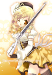 1girl 2012 blonde_hair breasts drill_hair gloves gun hat highres koge_donbo magical_girl magical_musket mahou_shoujo_madoka_magica medium_breasts one_eye_closed rifle short_hair smile thighhighs tomoe_mami twin_drills twintails weapon yellow_eyes