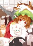 1girl animal_ears brown_hair cat cat_ears cat_girl cat_tail chen earrings hat highres japa jewelry mob_cap multiple_tails single_earring smile solo tabard tail touhou