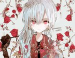1girl asahiro black_shirt closed_mouth commentary_request facing_viewer flower fork holding jacket long_hair looking_at_viewer original plant red_eyes red_jacket rose shirt side_ponytail silver_hair solo spoon twitter_username upper_body