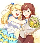 2girls :d blonde_hair blue_bow bouquet bow braid breasts brown_hair brown_skirt commentary_request crying dress flower gloves hair_bow highres holding holding_bouquet large_breasts long_hair multiple_girls open_mouth petals polka_dot_skirt round_teeth seiyuu simple_background skirt sleeveless sleeveless_dress smile tears teeth tokyo_7th_sisters uesugi_u_kyouko white_gloves yakimi_27 yellow_background yoshii_ayami