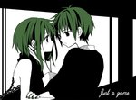 1boy 1girl anzu_(o6v6o) eye_contact genderswap genderswap_(ftm) green_hair gumi gumiya hand_on_another's_face looking_at_another vocaloid