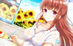 1girl amatsu_kanata bangs blue_sky breasts brown_hair cloud cloudy_sky collarbone collared_shirt commentary_request covered_nipples cup day dutch_angle eyebrows_visible_through_hair flower girlfriend_(kari) half_updo highres holding holding_pen indoors lens_flare long_hair looking_at_viewer masa_(mirage77) no_bra partial_commentary pen red_eyes see-through shirt short_sleeves sidelocks sitting sky smile solo sunflower sunlight sweat tea teacup tight uniform upper_body wallpaper wet wet_clothes white_shirt window