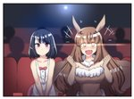 2girls antennae bangs black_hair blunt_bangs blush breasts brown_eyes brown_hair cleavage collarbone comic dress expressionless eyebrows_visible_through_hair eyes_visible_through_hair fur_collar fur_trim glowing glowing_eyes hands_up highres hinghoi insect_girl large_breasts long_hair looking_at_viewer medium_hair monster_girl moth_girl moth_wings movie_theater multiple_girls open_mouth original red_eyes sitting sleeveless smile strapless white_dress wings