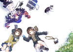 3girls :o bag blue_eyes brown_eyes brown_hair camera cat circle_formation coat from_above hair_ornament kneehighs long_hair looking_up lying multiple_girls open_mouth original pleated_skirt purple_hair reaching school_bag short_hair skirt smile snowing yuugen