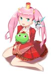 1girl :d akane_garnet barefoot blue_eyes crown dress fairy full_body highres looking_at_viewer mini_crown open_mouth pink_hair purple_eyes red_dress sitting smile solo stuffed_animal stuffed_frog stuffed_toy tigersaber uchi_no_hime-sama_ga_ichiban_kawaii