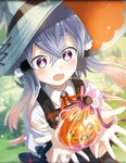 1girl artist_request colored_tips costume hair_ornament hat holding_object official_art open_mouth overall_dress phantom_of_the_kill pumpkin ribbon shu_(phantom_of_the_kill) silver_hair witch witch_hat