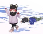1boy 1girl :d animal_ears arm_up beanie black_hair black_pants black_scarf blue_jacket boots breath brother_and_sister chigusa_asuha chigusa_kasumi child closed_eyes fake_animal_ears fur_boots fur_collar fur_trim green_pants grey_coat hand_up hat jacket long_sleeves lying mittens on_stomach open_mouth pants qualidea_code red_hair scarf sekiya_asami short_hair siblings sidelocks smile snow winter winter_clothes younger