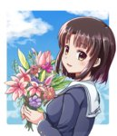 1girl blush brown_hair eyebrows_visible_through_hair flower highres holding holding_flower katou_megumi looking_at_viewer parted_lips rayhwang saenai_heroine_no_sodatekata short_hair smile solo upper_body windowboxed yellow_eyes