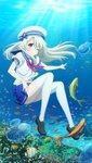 1girl ;) absurdres black_footwear blue_bow blue_sailor_collar blue_skirt bow breasts brown_eyes bubble closed_mouth fate/kaleid_liner_prisma_illya fate_(series) fish floating_hair full_body hair_bow hat highres illyasviel_von_einzbern index_finger_raised loafers long_hair looking_at_viewer medium_breasts miniskirt navel neckerchief official_art one_eye_closed pleated_skirt red_neckwear sailor_collar school_uniform shirt shoes short_sleeves silver_hair skirt smile solo stomach striped striped_bow sunlight thighhighs underwater very_long_hair white_headwear white_legwear white_shirt zettai_ryouiki