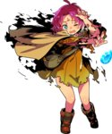 1girl blush boots cape dress fa facial_mark fire_emblem fire_emblem:_fuuin_no_tsurugi fire_emblem_heroes forehead_mark full_body gloves highres himukai_yuuji mamkute one_eye_closed open_mouth pink_hair pointy_ears purple_hair short_hair solo stone torn_clothes transparent_background