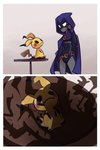 1girl 2koma cape comic crossover dc_comics grey_skin leotard mimikyu pokemon pokemon_(creature) pokemon_(game) pokemon_sm rad_dar raven_(dc) shadow silent_comic solo teen_titans