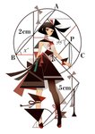 1girl appi bangs black_hair blunt_bangs circle expressionless full_body geometry highres looking_at_viewer math number original pantyhose red_eyes short_hair simple_background sleeveless solo standing white_background