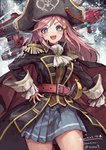 +_+ 1girl artist_name belt bicorne black_cape black_coat black_headwear blue_eyes blue_skirt blush braid cape coat collared_coat commentary_request cowboy_shot cravat cuffs cutlass_(sword) dated epaulettes frilled_sleeves frills hair_ornament hairclip hand_on_hip hat highres katou_marika long_hair looking_at_viewer miniskirt_pirates open_clothes open_coat open_mouth pink_hair pirate pirate_hat pirate_ship pleated_skirt sidelocks signature skirt skull_and_crossbones smile solo standing suzuno_(bookshelf) thick_eyebrows very_long_hair