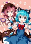 2girls :d animal_ears armband arms_up bird_wings blue_dress blue_eyes blue_hair blush bow bowtie brown_dress brown_headwear cat_ears cirno clenched_hands cowboy_shot dress eyebrows_visible_through_hair fake_animal_ears fang feathered_wings foreshortening hair_between_eyes hair_bow hands_on_another's_shoulders hat head_tilt heart highres leaning_to_the_side long_sleeves looking_at_viewer multiple_girls mystia_lorelei open_mouth outstretched_hand paw_print pinafore_dress pink_background pink_hair puffy_short_sleeves puffy_sleeves purple_eyes red_neckwear ruu_(tksymkw) shirt short_hair short_sleeves simple_background smile touhou white_neckwear white_shirt wings