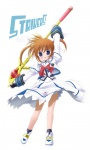 1girl :d arm_up artist_request blush bow copyright_name cropped_jacket dress fingerless_gloves full_body gloves juliet_sleeves long_skirt long_sleeves looking_at_viewer lyrical_nanoha magical_girl mahou_shoujo_lyrical_nanoha mahou_shoujo_lyrical_nanoha_a's mahou_shoujo_lyrical_nanoha_strikers open_mouth puffy_sleeves purple_eyes raising_heart red_bow red_hair shoes short_hair skirt smile solo staff standing takamachi_nanoha twintails white_background white_dress white_footwear