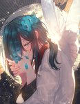 absurdres androgynous angel angel_wings black_hair blue_eyes blue_flower blush canarinu eyebrows_visible_through_hair eyelashes fingernails flower flower_request hair_flower hair_ornament hair_over_one_eye half-closed_eyes halo hands_together highres interlocked_fingers light_smile long_hair long_sleeves looking_down original petals ponytail shirt smile sparkle upper_body white_shirt white_wings wings
