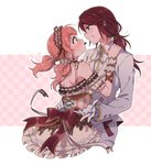2girls arm_ribbon back_bow bang_dream! blush bow brooch brown_bow checkered checkered_background chocolate collared_shirt corset dress earrings eye_contact food_themed_clothes formal frilled_dress frilled_hairband frilled_sleeves frills gloves grin hair_ornament hair_ribbon hair_scrunchie hair_tie hairband hand_on_another's_shoulder happy_valentine heart heart_earrings heart_hair_ornament highres jewelry lolita_hairband long_hair long_sleeves looking_at_another mouth_hold multiple_girls outline pink_background ponytail re_ghotion ribbon scrunchie shirt shoulder_blades smile striped striped_ribbon suit twintails udagawa_tomoe uehara_himari valentine white_gloves white_neckwear white_outline white_scrunchie white_suit wrist_cuffs yuri