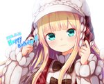 1girl :3 aran_sweater baram blonde_hair blush bow brown_bow closed_mouth commentary_request dated green_eyes hands_up happy_birthday hat head_tilt long_hair long_sleeves looking_at_viewer mononobe_alice nijisanji plaid puffy_long_sleeves puffy_sleeves simple_background sleeves_past_wrists smile solo sweater upper_body virtual_youtuber white_background white_headwear white_sweater