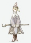 1009 1girl blonde_hair boots final_fantasy final_fantasy_tactics green_eyes hat robe solo staff time_mage time_mage_(fft)