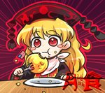 1girl american_flag blonde_hair blush_stickers chinese_clothes commentary_request dated eating eclipse emphasis_lines fork hat junko_(touhou) long_hair lowres lunar_eclipse moon plate pote_(ptkan) pun red_eyes solo touhou