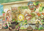 1girl amoonguss anus apron bad_id baseball_cap bellossom bellsprout blue_eyes boots brown_hair bucket cacnea carrying cherrim cherubi denim denim_shorts exeggcute exeggutor foongus hat high_ponytail highres hoppip lilligant oddish pansage pokemon pokemon_(game) pokemon_bw psyduck roselia seedot sewaddle shaymin shop shorts shroomish skiploom snivy squirt_bottle squirtle sudowoodo sunflora sunkern suzukizukizuki swadloon tangela touko_(pokemon) victreebel wailmer whimsicott wristband
