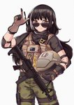 1girl australian_flag bangs black_hair black_shirt bulletproof_vest camouflage camouflage_pants closed_mouth colt_smg commentary eyebrows_visible_through_hair girls_frontline gloves gun hand_gesture headwear_removed helmet helmet_removed heterochromia holding holding_helmet long_hair looking_at_viewer mozzie_(rainbow_six_siege) multicolored_hair pants parody persocon93 pouch rainbow_six_siege red_eyes ro635 ro635_(girls_frontline) shirt simple_background smile solo sunglasses tactical_clothes two-tone_hair vest weapon white_background white_hair yellow_eyes