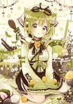 1girl :3 absurdres animal animal_ears animal_on_shoulder bangs bell bird black_bow black_neckwear blush bow bowl cat_ears chick clover commentary_request egg eyebrows_visible_through_hair flower food four-leaf_clover frilled_sleeves frills green_bow green_eyes green_tea hair_bow hair_ornament hairpin head_scarf highres jingle_bell looking_at_viewer matcha_(tea) neck_ribbon original overflow parted_lips pennant personification ribbon sakura_oriko short_hair sitting skirt sleeves_past_wrists solo spoon sprout string_of_flags tea white_bow