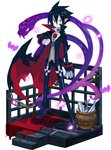 1boy black_cape black_footwear black_hair black_pants cape chain choker disgaea expressionless faux_figurine fish full_body harada_takehito looking_at_viewer makai_senki_disgaea_4 makai_wars male_focus pale_skin pants popped_collar red_eyes shoes snake solo standing urn valvatorez_(disgaea)