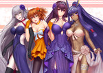 4girls :d ahoge alternate_costume animal_ears armlet asymmetrical_docking bangs bare_shoulders bikini black_gloves black_legwear blush bow breast_press breasts choker cleavage closed_mouth collarbone covered_navel dark_skin dress earrings elbow_gloves eyebrows_visible_through_hair facial_mark fate/grand_order fate_(series) flower fujimaru_ritsuka_(female) gloves hair_flower hair_ornament hand_on_hip head_tilt hoop_earrings jeanne_d'arc_(alter)_(fate) jeanne_d'arc_(fate)_(all) jewelry large_bow large_breasts layered_dress leaning_forward lifted_by_self long_hair looking_at_viewer low-tied_long_hair masatoki medium_breasts midriff multiple_girls navel necklace nitocris_(fate/grand_order) one_side_up open_mouth orange_choker orange_dress orange_eyes orange_gloves orange_hair pale_skin pantyhose pink_eyes pink_hair purple_dress purple_eyes purple_gloves purple_hair ribbon_choker sarong_lift scathach_(fate/grand_order) sidelocks silver_hair smile star starry_background stomach strapless strapless_dress swimsuit thigh_strap thighhighs tiara very_long_hair white_bikini white_bow wristband yellow_eyes