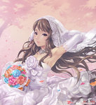 1girl arm_behind_head arm_up armpits bare_shoulders bouquet brown_eyes brown_hair choker dress elbow_gloves flower gloves lips original red_soda solo veil wedding_dress