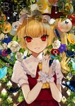 1girl absurdres anemone_(flower) apple bangs blonde_hair blue_flower bug butterfly commentary_request crystal daimaou_ruaeru english_text eyebrows_visible_through_hair eyes_visible_through_hair flandre_scarlet flower food fruit grapes grin hands_up hat hat_ribbon highres insect komeiji_koishi lace-trimmed_collar lace_trim leaf lemon long_hair looking_at_viewer mob_cap nail_polish one_side_up orange own_hands_together parted_lips peach pear puffy_short_sleeves puffy_sleeves purple_flower red_eyes red_nails red_ribbon red_skirt red_vest ribbon rose shirt short_sleeves skirt skirt_set slit_pupils smile solo touhou upper_body vest white_flower white_headwear white_rose white_shirt wings wrist_cuffs yellow_flower