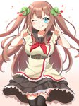.live 1girl :p ;p belt blue_eyes blush breasts brown_hair collarbone commentary_request double_v hair_between_eyes hair_ribbon highres kakyouin_chieri kogetsu_azami large_breasts looking_at_viewer one_eye_closed ribbon simple_background solo thighhighs tongue tongue_out twintails two_side_up v virtual_youtuber