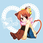 1girl animal_ears boots brown_eyes brown_hair cat_ears happy_birthday hirasawa_ui k-on! pantyhose pink_scarf plaid plaid_skirt ponytail scarf short_hair skirt solo tail ume_(pickled_plum)