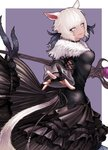 1girl animal_ears black_choker black_dress black_gloves black_mage blonde_hair cat_ears cat_tail choker closed_mouth dress facial_mark feathers final_fantasy final_fantasy_xiv fingernails frilled_dress frills from_behind fur_collar gloves hair_feathers hand_up holding holding_staff holding_wand hyuu_(sing-dog) long_dress long_sleeves looking_at_viewer looking_back miqo'te outstretched_arm outstretched_hand partly_fingerless_gloves platinum_blonde_hair short_hair slit_pupils solo spread_fingers staff tail tail_through_clothes twisted_torso wand whisker_markings y'shtola_rhul