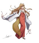 1girl absurdres animal_ears brown_hair fneix full_body geta hakama highres holo japanese_clothes long_hair long_sleeves miko red_eyes red_hakama ribbon-trimmed_sleeves ribbon_trim signature simple_background solo spice_and_wolf tabi tail white_legwear wide_sleeves wolf_ears wolf_girl wolf_tail