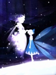 2girls cirno closed_eyes hanada_hyou letty_whiterock multiple_girls petting profile silhouette snow touhou wings