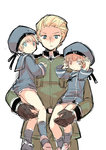 axis_powers_hetalia blonde_hair blue_eyes brown_eyes brown_hair carrying cowboy_shot crossover germany_(hetalia) hat iron_cross kantai_collection military military_uniform sailor_collar sailor_hat short_hair simple_background tobi_(one) uniform white_background z1_leberecht_maass_(kantai_collection) z3_max_schultz_(kantai_collection)