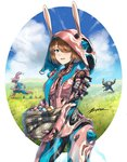 1girl animal_ears aqua_eyes artist_name body_armor bodysuit breasts brown_hair bunny_ears clem dual_wielding easter easter_egg egg fake_animal_ears gun hair_ornament hair_over_one_eye happy_easter holding humanization ivara_(warframe) looking_at_viewer multiple_boys open_mouth short_hair smile volt_(warframe) warframe weapon zxpfer
