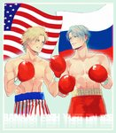 2boys abs american_flag ash_lynx banana_fish blonde_hair blue_eyes boxing_gloves chest clenched_teeth company_connection copyright_name crossover flag green_eyes highres male_focus multiple_boys nipples rocky_iv russian_flag shirtless silver_hair teeth throttlee toned toned_male viktor_nikiforov yuri!!!_on_ice