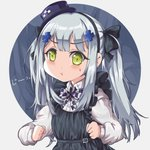 1girl :t absurdres apron bangs black_apron blue_background bow checkered clenched_hands dress_shirt eyebrows_visible_through_hair facial_mark frills girls_frontline green_eyes hair_bow hair_ornament hat highres hk416_(girls_frontline) long_sleeves looking_at_viewer mini_hat mini_top_hat persocon93 pout shirt sidelocks silver_hair solo top_hat twintails v-shaped_eyebrows white_background white_shirt younger