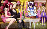 1boy 4girls absurdres ahoge angelise_ikaruga_misurugi antenna_hair arm_around_shoulder artist_request bare_shoulders blonde_hair blue_eyes blue_hair blush bracelet breasts brown_eyes brown_hair butterfly_hair_ornament cleavage closed_eyes couch cross_ange crossdressing crossed_legs crying cup drinking_glass flower formal hair_flower hair_ornament hand_on_another's_leg harem highres hilda_(cross_ange) jewelry kamei_osamu long_sleeves magazine_scan maid maid_headdress momoka_oginome multiple_girls necklace official_art one_eye_closed open_mouth pant_suit pantyhose pink_hair red_hair ring scan short_hair short_sleeves sitting smile suit tusk_(cross_ange) twintails vivian_(cross_ange) white_legwear wine_glass yellow_eyes yuri